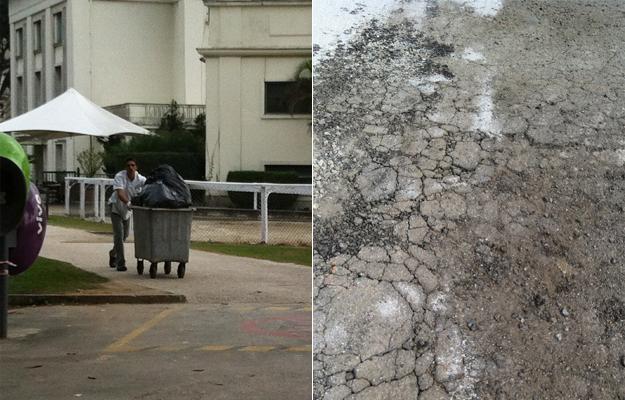 Funcionário do Jockey retirando o lixo durante a corrida e asfalto do estacionamento por onde corremos.