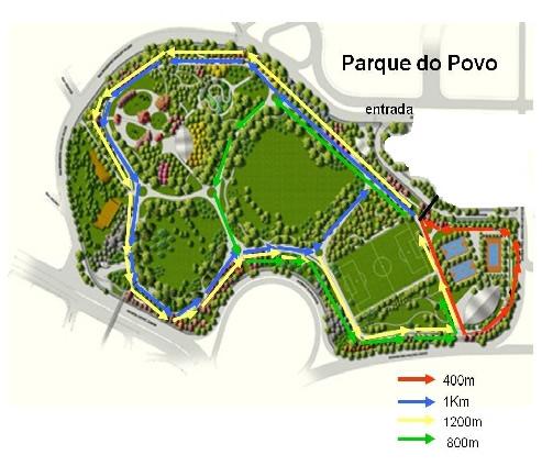 Mapa com percursos no Parque do Povo - Arte 4any1