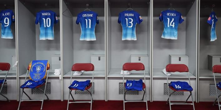 Camisa azul da Seleção Brasileira de Futebol Feminino (Fifa.com)