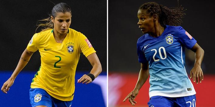 Jogadoras da seleção brasileira de futebol feminino com a camisa amarela e a azul 2015 (Getty Images/Fifa)