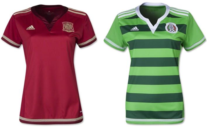 Camisas oficias das seleções da Espanha e do México na Copa do Mundo Feminina (Adidas)