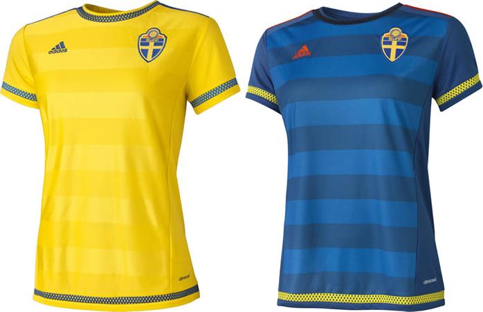 Camisas oficiais da seleção da Suécia na Copa do Mundo Feminina (Adidas)