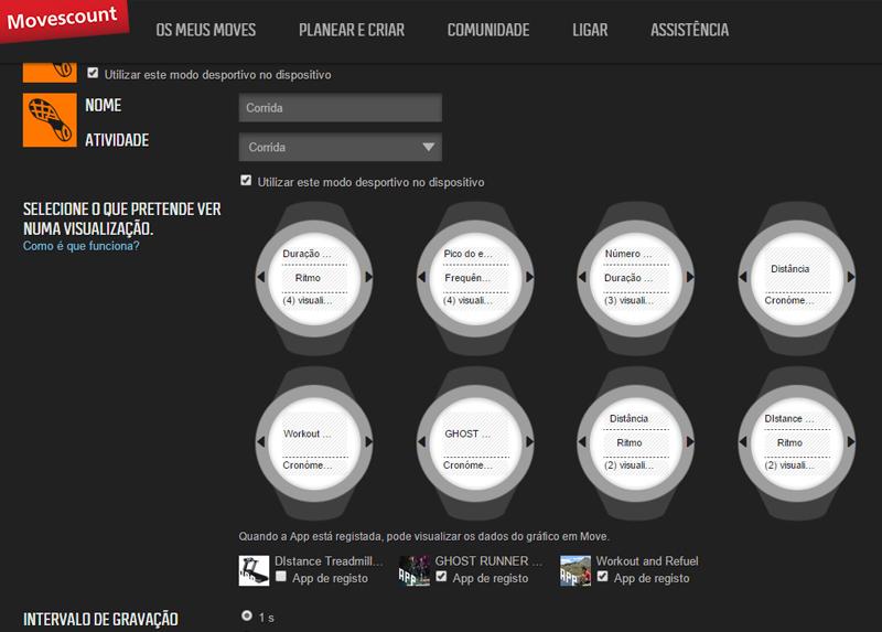 Tela do site Suunto Movescount onde você pconfigura as telas do relógio e pode aplicar os aplicativos (no exemplo vocês podem ver os três que escolhi testar).