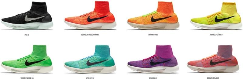 Opções de cores femininas do LunarEpic Flyknit (Divulgação Nike)