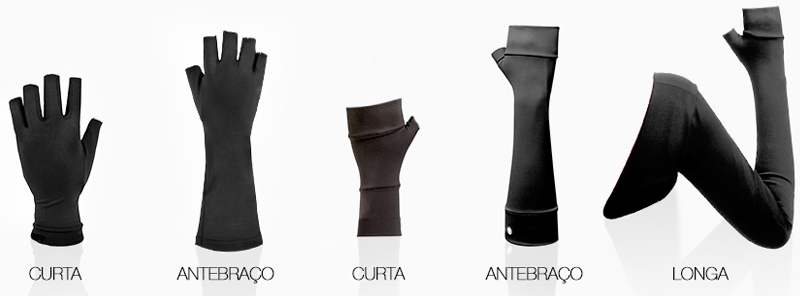 Modelos da Luva Invel Actiive Glove: linhas OTI (duas primeiras) e LIN (três últimas)