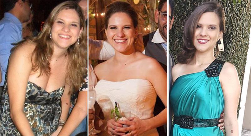 No meu aniversário em 2012, antes de começar a correr; no meu casamento em 2014, 6 kg mais magra; e no casamento de uma amiga no final de outubro, com mais 3kg eliminados